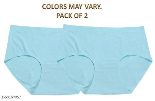 Women Hipster Aqua Blue Cotton Blend Panty (Pack of 2)