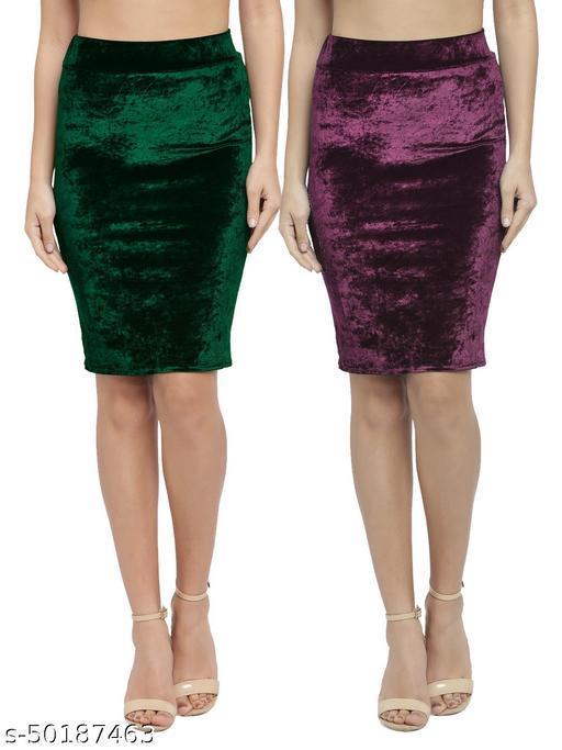 N-Gal Women's Velvet High Waist Versatile Straight Knee Length Pencil Skirt_Green,Wine_Combo of 2