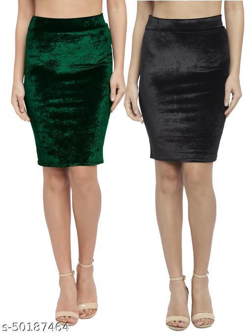 N-Gal Women's Velvet High Waist Versatile Straight Knee Length Pencil Skirt_Green,Black_Combo of 2