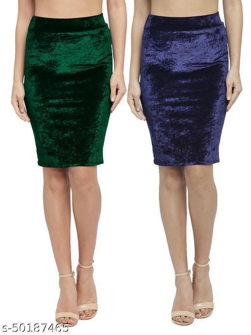 N-Gal Women's Velvet High Waist Versatile Straight Knee Length Pencil Skirt_Green,NavyBlue_Combo of 2