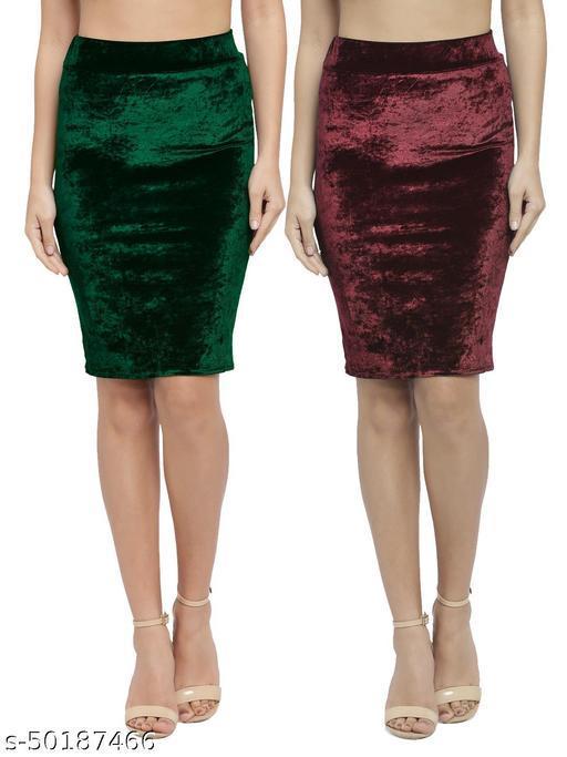 N-Gal Women's Velvet High Waist Versatile Straight Knee Length Pencil Skirt_Green,Maroon_Combo of 2