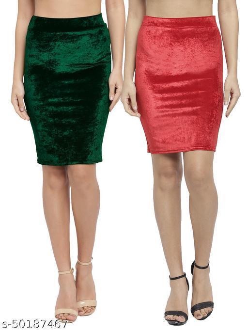N-Gal Women's Velvet High Waist Versatile Straight Knee Length Pencil Skirt_Green,Red_Combo of 2
