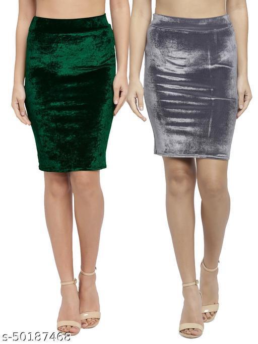 N-Gal Women's Velvet High Waist Versatile Straight Knee Length Pencil Skirt_Green,Grey_Combo of 2