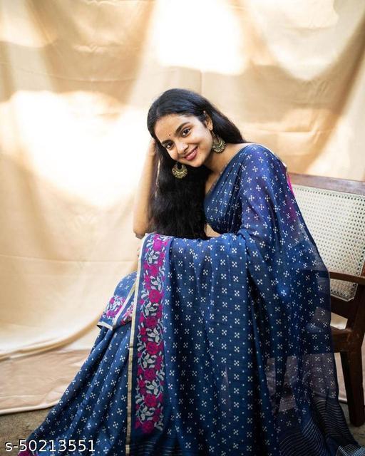 FITCASK® Women's Banarasi Silk Saree With Blouse Piece :- Navy Blue