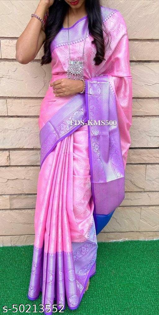 FITCASK® Women's Banarasi Silk Saree With Blouse Piece :- Pink