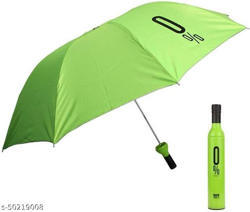 Ultra Light Compact And Folding Umbrella With Wine Bottle Cover Waterproof / Mini Portable Umbrella Protection And Rain, Stylish Printed Bottle Umbrella (GREEN)