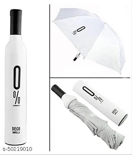 Ultra Light Compact And Folding Umbrella With Wine Bottle Cover Waterproof / Mini Portable Umbrella Protection And Rain, Stylish Printed Bottle Umbrella (WHITE)