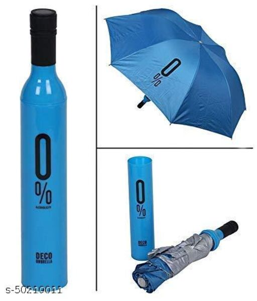 Ultra Light Compact And Folding Umbrella With Wine Bottle Cover Waterproof / Mini Portable Umbrella Protection And Rain, Stylish Printed Bottle Umbrella (BLUE)