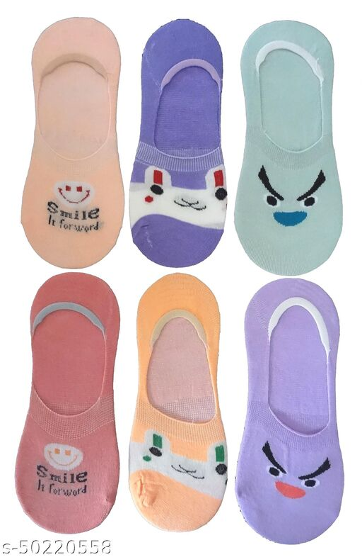 S4S Pack of 6 Pairs Women's and Girl's Anti-Slip Cotton Loafer Socks (Multi-Coloured)