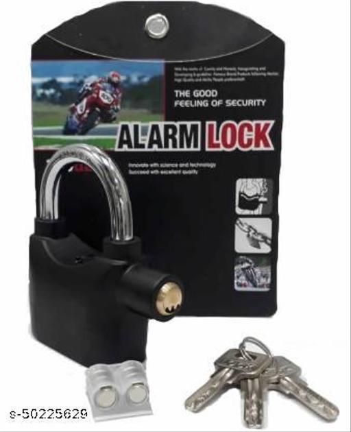 High Quality Alarm Lock Padlock Anti-Theft Security System Door Safety Lock  (Black)