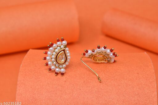 Fancy Ethnic Nath for Women Nose Rings & Nath Nose Pins Key Nose Stud Kundan nose pins Nosepins - oxidised nathni