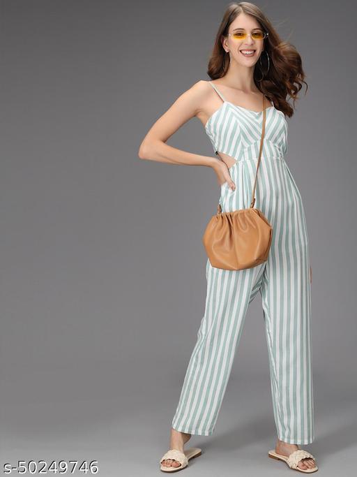 TRISLIN White Striped Printed Jumpsuit
