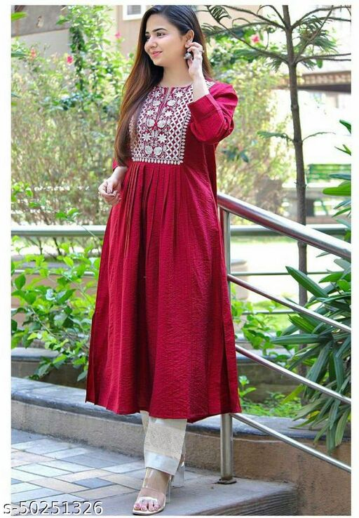 Heavy Rayon Kurti, Pant  set with  Embroidery Work for Women / Girls  Wear Quality Assured Size  M-38, L-40, XL-42, XXL-44