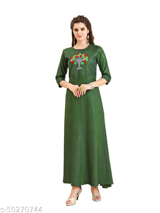 Women Rayon Stitched Hand Work Kurti/Gown for women