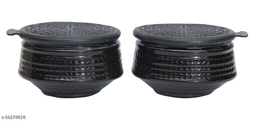 black Handi Shaped Modern Premium Bowl Set with Airtight Lid for Kitchen Storage(Set of 2)