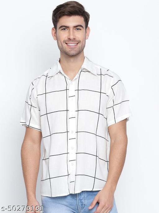 Sharp witted  white check print  men causal shirt