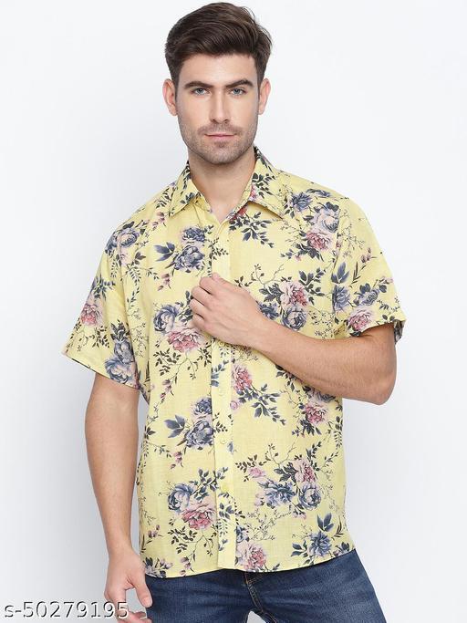 Sunny Yellow floral print causal men shirt
