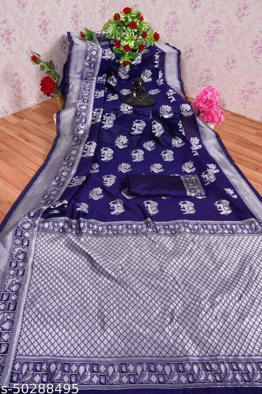 Sensational Wonedeful Festive Wear Cotton Silk Jacquard saree with blouse piece
