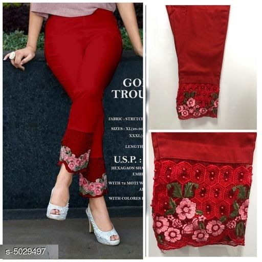 Ethnic Bottomwear - Churidar Pants Casual Women's Churidar Pants  *Fabric* 100% Cotton  *Size* L - Up To 28 in To 34 in, XL - Up To 34 in To 40 in,XXL - Up to 38 in To 46 in  *Length* Up To 40 in  *Type* Stitched  *Description* It Has 1 Piece Of Women's Cigarette Pant  *Pattern* Embroidery  *Sizes Available* L, XL, XXL *   Catalog Rating: ★4 (1085)  Catalog Name: Free Mask Casual Women's Churidar Pants CatalogID_739026 C74-SC1016 Code: 734-5029497-