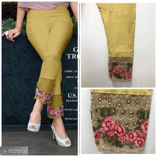 Ethnic Bottomwear - Churidar Pants Casual Women's Churidar Pants  *Fabric* 100% Cotton  *Size* L - Up To 28 in To 34 in, XL - Up To 34 in To 40 in,XXL - Up to 38 in To 46 in  *Length* Up To 40 in  *Type* Stitched  *Description* It Has 1 Piece Of Women's Cigarette Pant  *Pattern* Embroidery  *Sizes Available* L, XL, XXL *   Catalog Rating: ★3.8 (315)  Catalog Name: Casual Women's Churidar Pants CatalogID_739026 C74-SC1016 Code: 734-5029500-