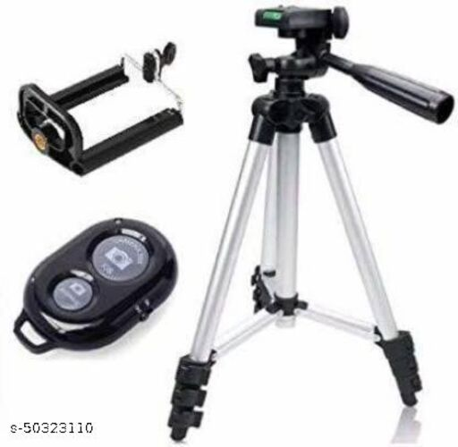 3110 Portable Adjustable Aluminum Lightweight tripod Stand and Wireless Bluetooth Remote Control Camera Shutter(Black) Tripods