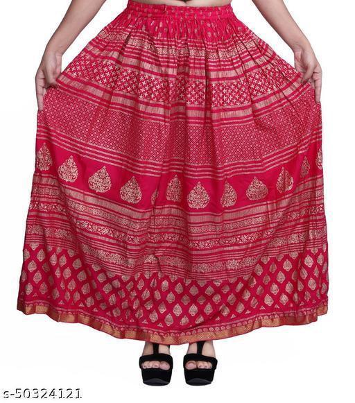 Women Rayon Gold printed Free Size Skirts
