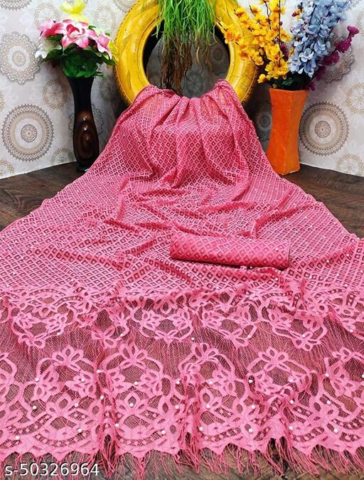 Sensational Wonedeful Festive Wear Rasal Net saree with blouse piece