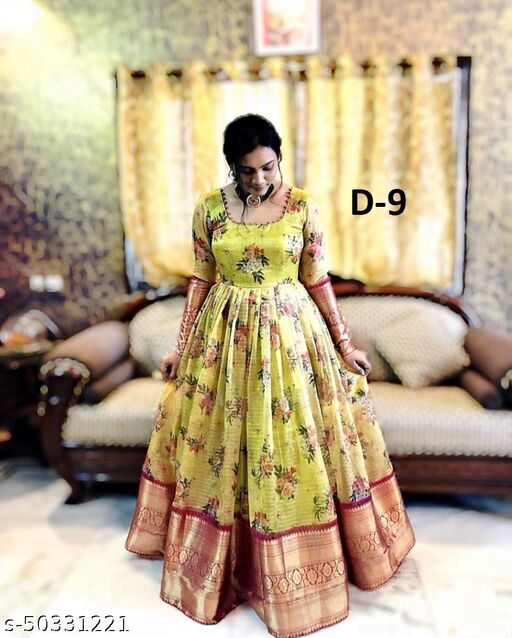 Wedding Special Beautiful Jacquard work & Georgette Gown