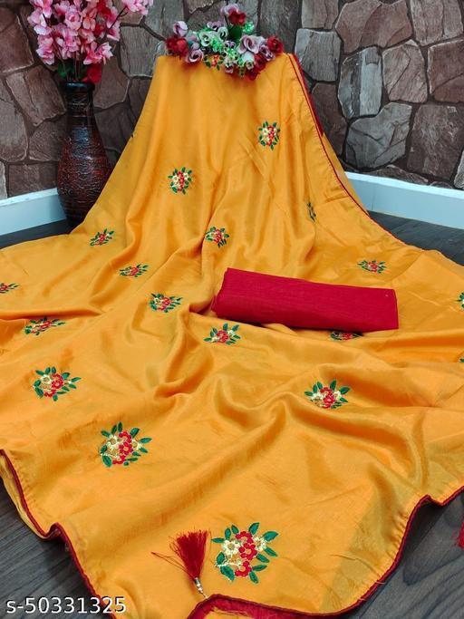 Stylish Dolla Silk Embroidered Partywear Festive Designer Women Saree