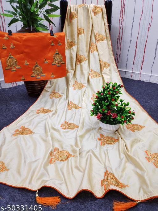 Stylish Georgette, Satin Blend Embroidered Partywear Festive Designer Women Saree