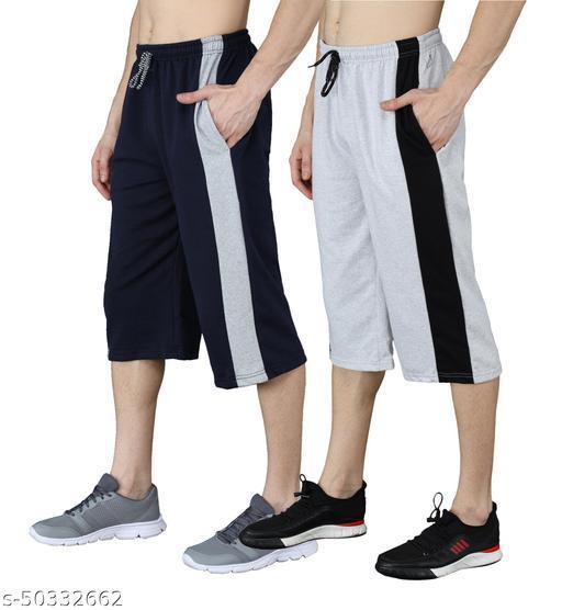 Saklana Men Cotton Navy Grey 3/4 Capri Regular Shorts Combo Pack of 2