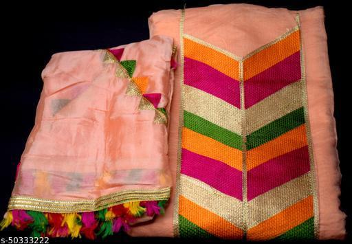 Priyanka Fashion SILK dress material with LIGHT PINK dupatta