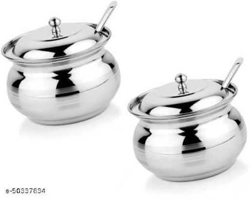 STAINLESS STEEL GHEE POT / OIL CONTAINER WITH LID & SPOON, 2PCS (250ML APPROX.)