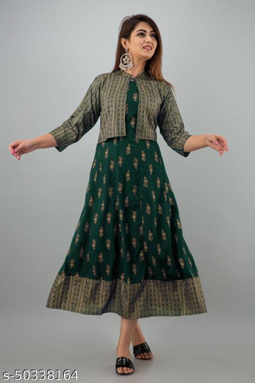 women printed kurti with jacket