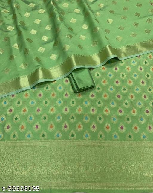 (12Mint Green) Fashionable Banarsi Multi Mina Silk Suit And Dress Material