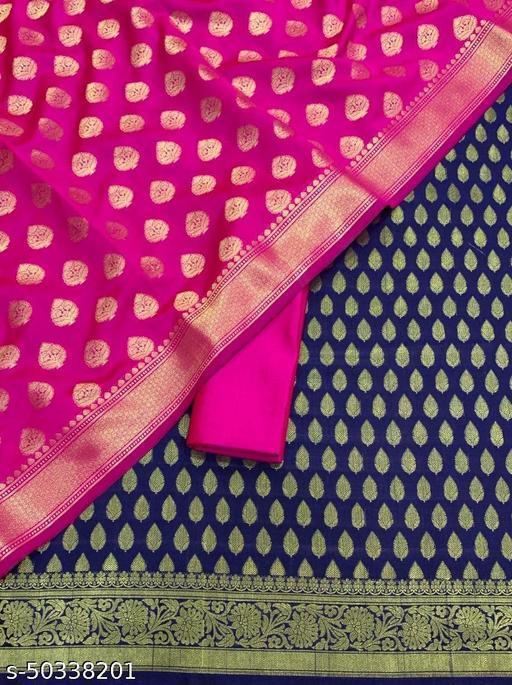 (14Navy Blue) TrenDy Fabulous Banarsi Silk Suit And Dress Material