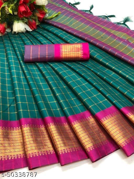 FITCASK® Women's Banarasi Silk Saree With Blouse Piece :- Blue