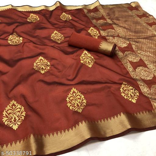 FITCASK® Women's Banarasi Silk Saree With Blouse Piece :- Red