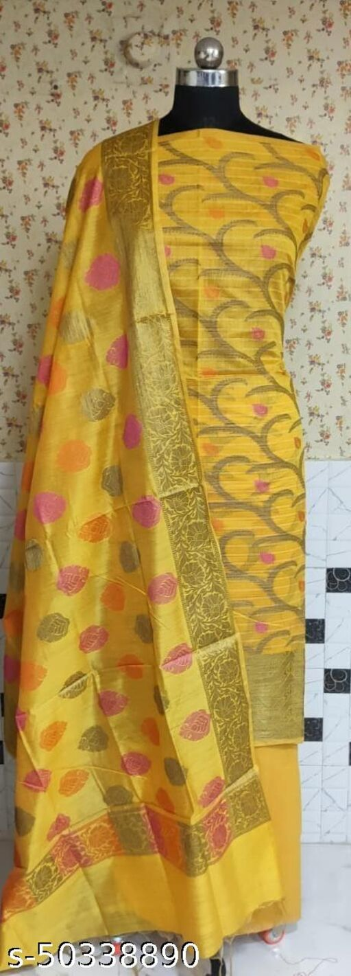 (1Yellow) Fabulous Summer Season Partywear Banarsi Cotton Suit And Dress Material