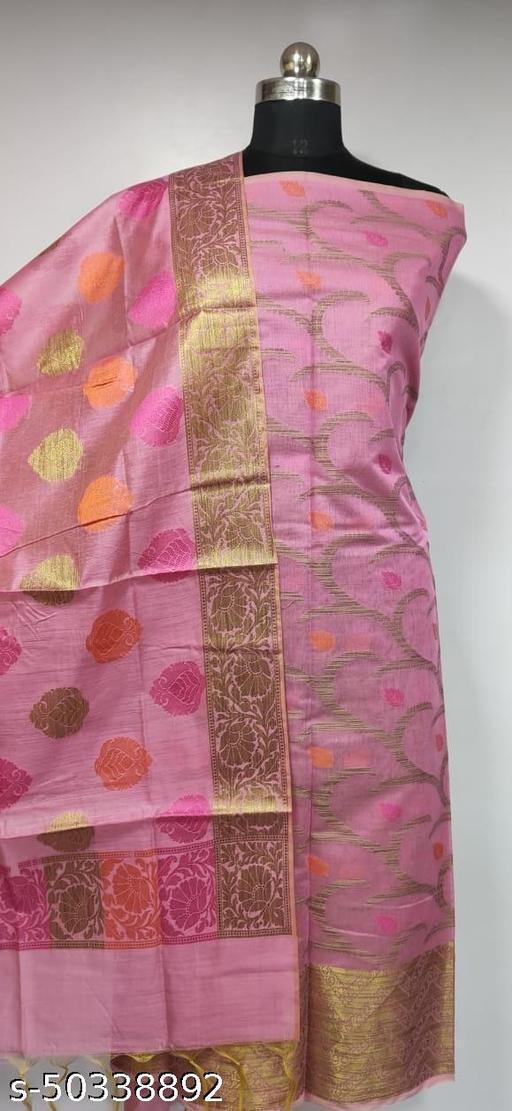 (1Pink) Fabulous Summer Season Partywear Banarsi Cotton Suit And Dress Material