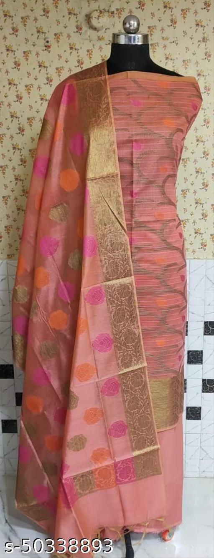 (1Peach) Fabulous Summer Season Partywear Banarsi Cotton Suit And Dress Material