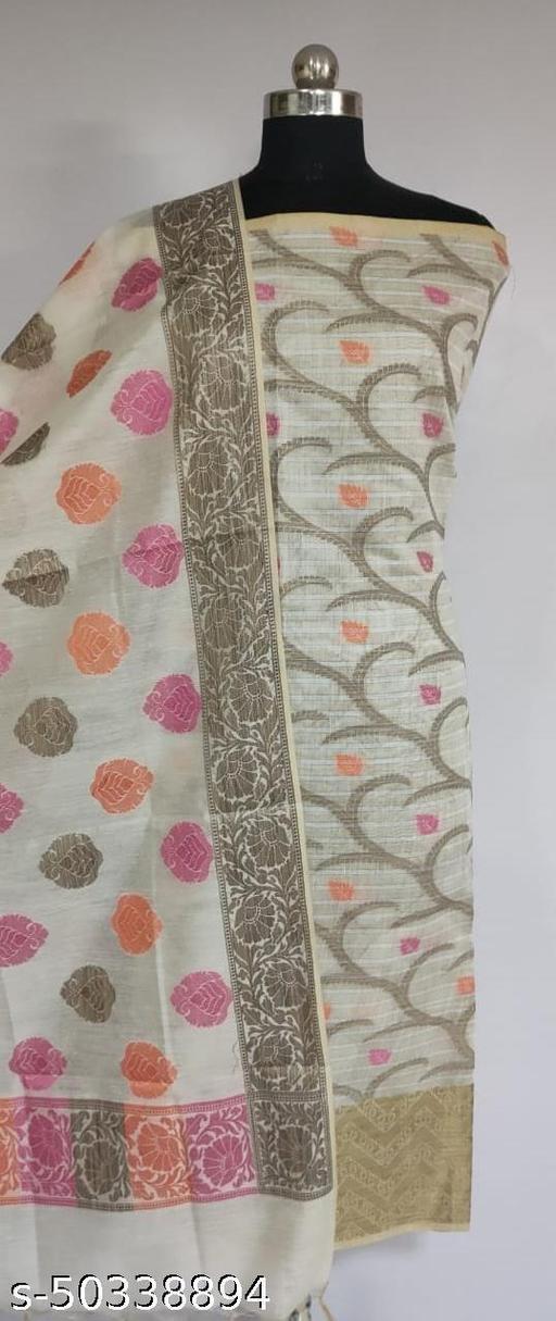 (1White) Fabulous Summer Season Partywear Banarsi Cotton Suit And Dress Material