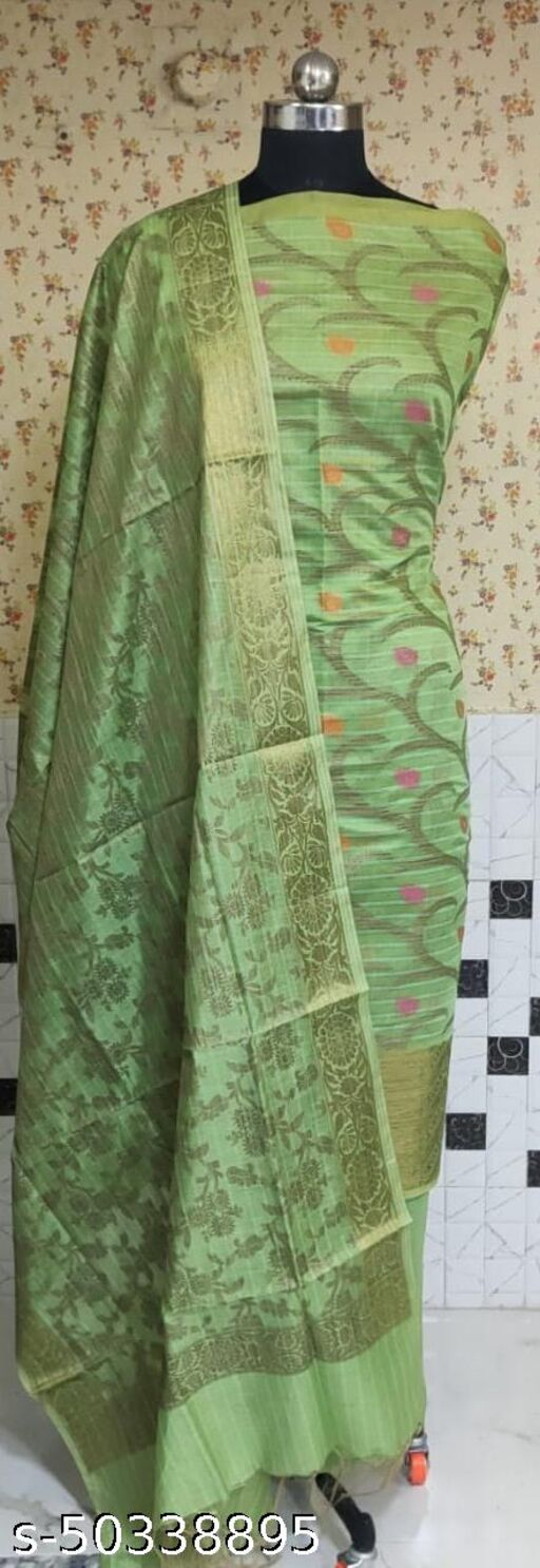 (1Mint Green) Fabulous Summer Season Partywear Banarsi Cotton Suit And Dress Material