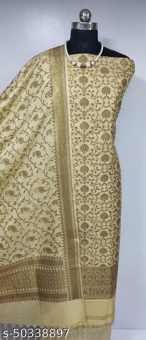 (8Cream) Fabulous Banarsi Pure Silk Suit And Dress Material