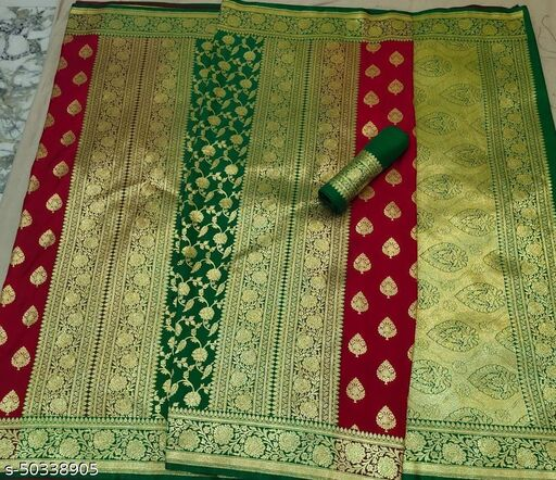 (13Red) Fabulous TrenDy Banarsi Partly Silk Saree for Specially Weddings