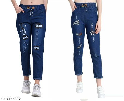 Denim Jeans/Jogger Elastic Waist Drawstring Stretch Side Pockets Bang Dark and Star Dark Casual Jeans  Pack Of 2
