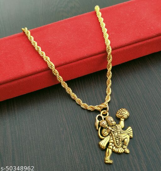 Trending Religious Hanuman Gold Locket For Mens And Womens With Chain