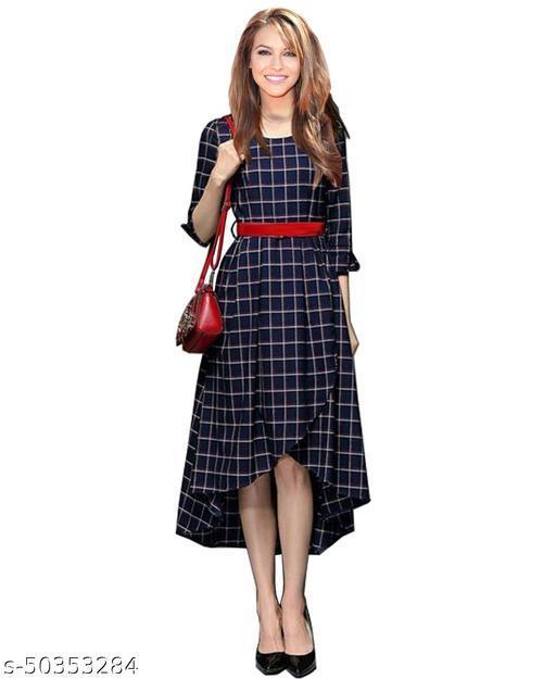Namnish Women Blue Color Striped 3/4sleeves Midi Dress