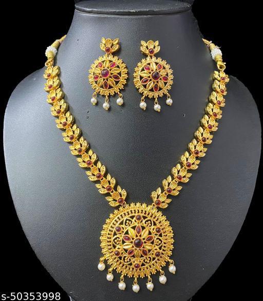Madhuram gold plated Nagmala Necklace set South Indian Fashion Jewellery  Pota Necklace set with earrings