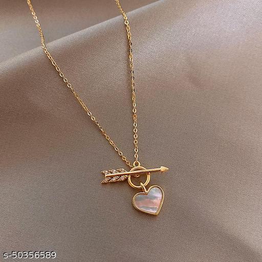 CUTIEPIE Beautiful Cupid Heart Pendant Alloy Neck Chain for Girls /  Women - Gold